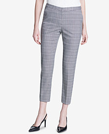 Calvin Klein Plaid Straight-Leg Ankle Pants, Regular & Petite