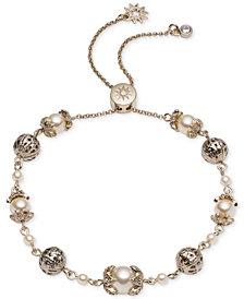 Marchesa Gold-Tone Bead & Imitation Pearl Slider Bracelet
