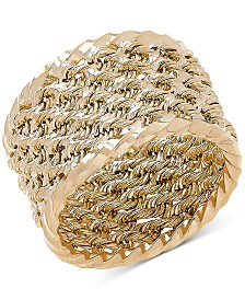 Rope-Look Wide Band in 14k Gold