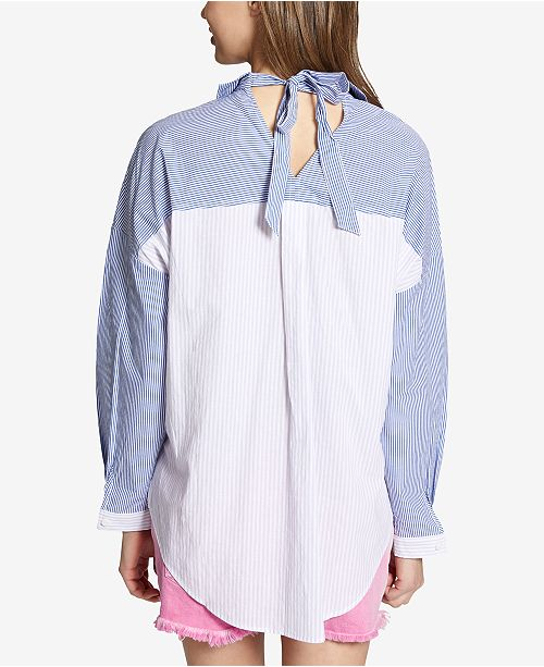 Shirt Orchid Colorblocked Cotton It Stripe Sanctuary Up Mix FwIYtqX
