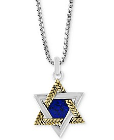 "EFFY® Men's Lapis Lazuli (8-1/2 x 7-1/2mm) Star of David 22"" Pendant Necklace in Sterling Silver & 18k Gold-Plate"