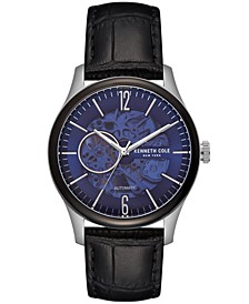 Men's Automatic Black Leather Strap Watch 42.5mm