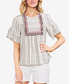 Vince Camuto Embroidered Ruffle Sleeve Top