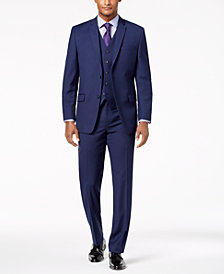 Marc New York by Andrew Marc Men's Modern-Fit Stretch Navy Neat Vested Suit