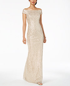 Adrianna Papell Off The Shoulder Sequined Gown