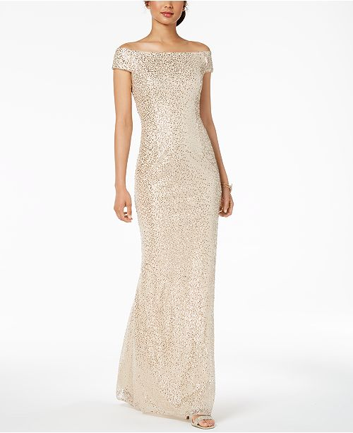 f30bc4f5265 Adrianna Papell Off-The-Shoulder Sequined Gown   Reviews - Dresses ...