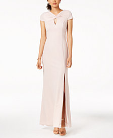 Adrianna Papell Petite Metallic Cutout Gown