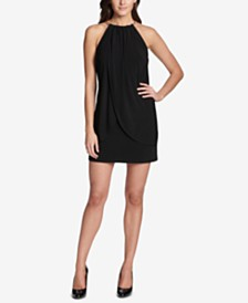 kensie Draped Snake-Chain Halter Dress