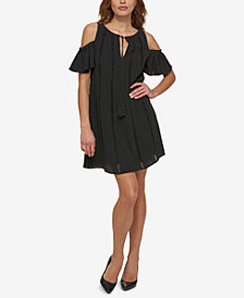 kensie Cold-Shoulder Keyhole Shift Dress