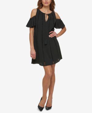 KENSIE COLD-SHOULDER KEYHOLE SHIFT DRESS