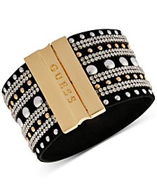 GUESS Two-Tone & Crystal Studded Faux Suede Magnetic Cuff Bracelet