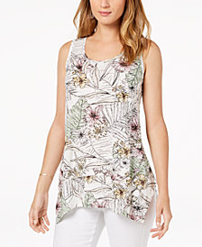 Style & Co Printed Scoop-Neck Tank Top, Created for Macy's