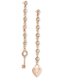 GUESS Rose Gold-Tone Crystal Lock & Key Mismatch Linear Drop Earrings