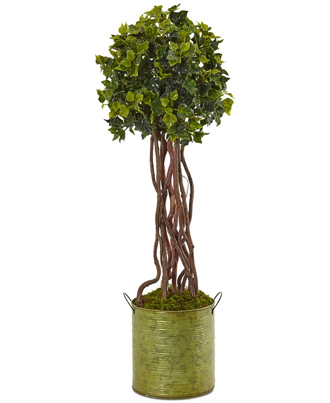 Nearly Natural 2.5' English Ivy UV-Resistant Indoor/Outdoor Artificial Tree in Metal Planter