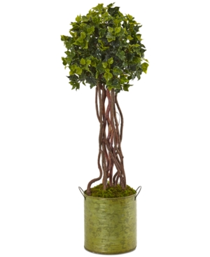 Nearly Natural 25 English Ivy UvResistant IndoorOutdoor Artificial Tree in Metal Planter