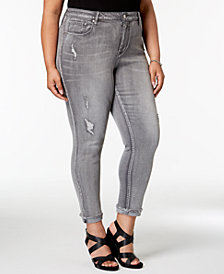 Seven7 Trendy Plus Size Ripped Skinny Jeans