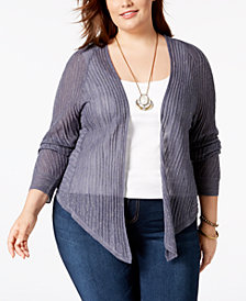 Lucky Brand Trendy Plus Size Open-Front Cardigan