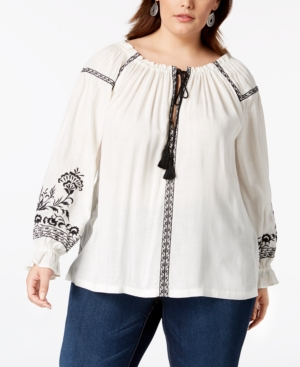 51ae151518f Lucky Brand Trendy Plus Size Embroidered Peasant Top In Black Multi