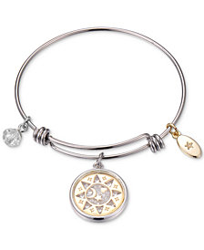 Unwritten Two-Tone Sun, Moon & Stars Shaker Charm Bangle Bracelet in Stainless Steel & Gold-Tone