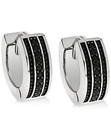 Sutton by Rhona Sutton Men's Sterling Silver & Black Cubic Zirconia Hoop Earrings