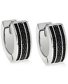 Sutton by Rhona Sutton Men's Sterling Silver & Black Cubic Zirconia Hoop Earrings