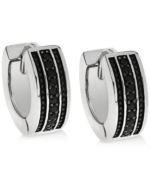 Sutton by Rhona Sutton Men's Sterling Silver & Black Cubic Zirconia Small Hoop Earrings  s