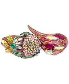 Betsey Johnson Gold-Tone Multi-Stone Parrot Bangle Bracelet