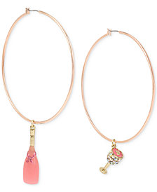 Betsey Johnson Rose Gold-Tone Crystal & Enamel Champagne Mismatch Hoop Earrings