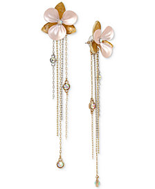 Betsey Johnson Two-Tone Crystal and Enamel Flower & Fringe Drop Earrings