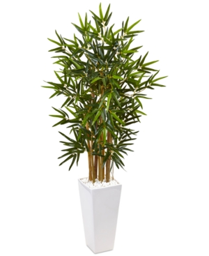 Nearly Natural 4 Bamboo Artificial Tree in White Tower Planter