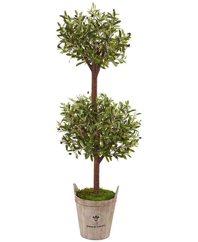 Nearly Natural 5' Olive Artificial Tree in Farmhouse Planter