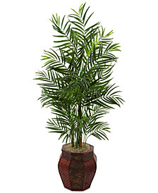 Nearly Natural 4.5' Areca Palm Artificial Tree in Mixed-Pattern Planter