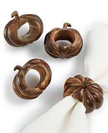 Bardwil Carved Pumpkin Napkin Rings, Set of 4