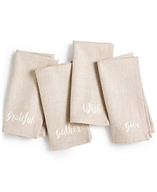 CLOSEOUT! Homewear Harvest Words Set of 4 Napkins