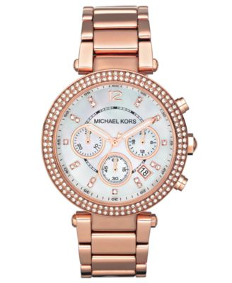 Image of Michael Kors Women's Chronograph Parker Rose Gold-Tone Stainless Steel Bracelet Watch 39mm MK5491