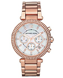 Women's Chronograph Parker Rose Gold-Tone Stainless Steel Bracelet Watch 39mm MK5491