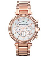92728f44be32 Michael Kors Women s Chronograph Parker Rose Gold-Tone Stainless Steel  Bracelet Watch 39mm MK5491