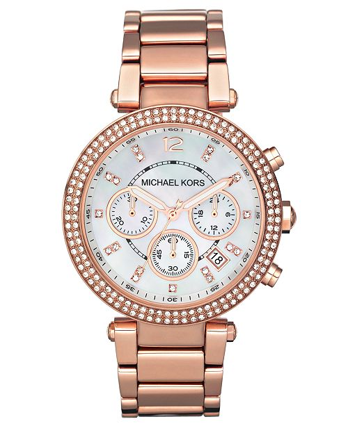 b40759813da5 Michael Kors Women s Chronograph Parker Rose Gold-Tone Stainless Steel  Bracelet Watch 39mm MK5491 ...