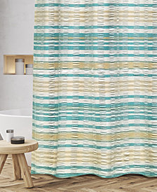 "Popular Bath Scarlet Cotton Textured Stripe 72"" x 72"" Shower Curtain"