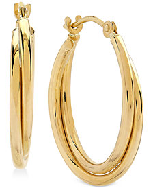 Polished Double Hoop Earrings in 10k Gold