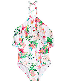 Summer Crush Big Girls 1-Pc. Floral-Print Swimsuit