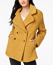 Collection B Juniors' Double-Breasted Faux-Fur Teddy Coat