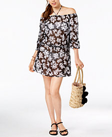 Bar III Off-The-Shoulder Dress Cover-Up, Created for Macy's