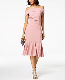 Vince Camuto Off-The-Shoulder Flounced Crepe Dress