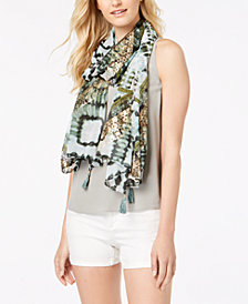 I.N.C. Metallic Shibori-Print Scarf & Cover-Up, Created for Macy's