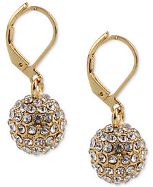 Charter Club Gold-Tone Pavé Ball Drop Earrings, Created for Macy's