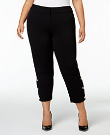 Nine West Plus Size Button-Hem Ankle Pants