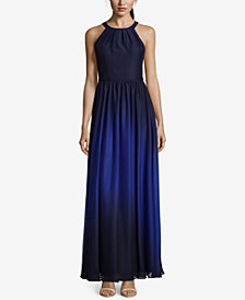 Betsy & Adam Ombré Chiffon Halter Gown
