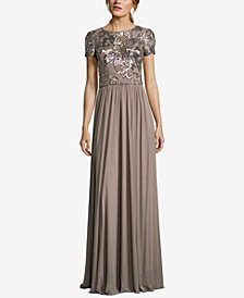 Betsy & Adam Petite Sequin-Embellished Gown