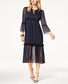 Zoe by Rachel Zoe Metallic Crinkle Chiffon Midi Dress, Created For Macy's